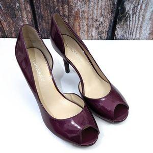 Kelly & Katie Wine/Purple Jubilee Peep Heels 8.5